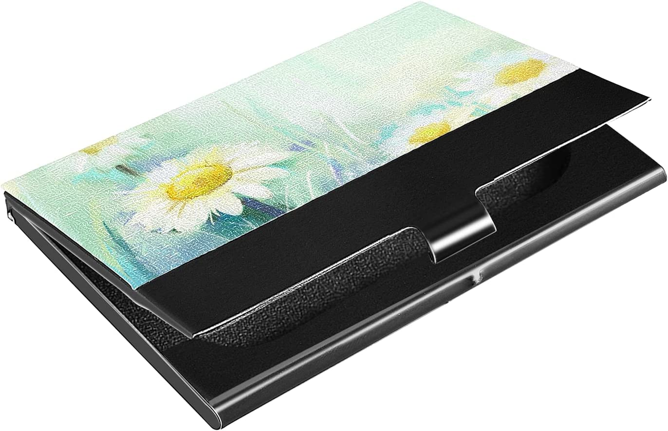 OTVEE Daisy Flowers Oil Painting Business Card Holder Wallet Stainless Steel & Leather Pocket Business Card Case Organizer Slim Name Card ID Card Holders Credit Card Wallet Carrier Purse for Women Men