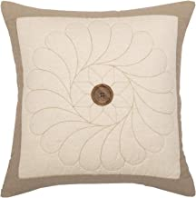 Piper Classics Heritage Patch Throw Pillow Cover, 20 x 20, Taupe & Cream Quilted Medallion w/Button, Country Farmhouse Décor Accent