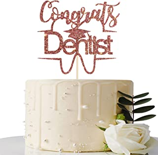 Maicaiffe Rose Gold Glitter Congrats Dentist Cake Topper - 2021 Graduation Party Decorations Supplies - Graduation Cake To...