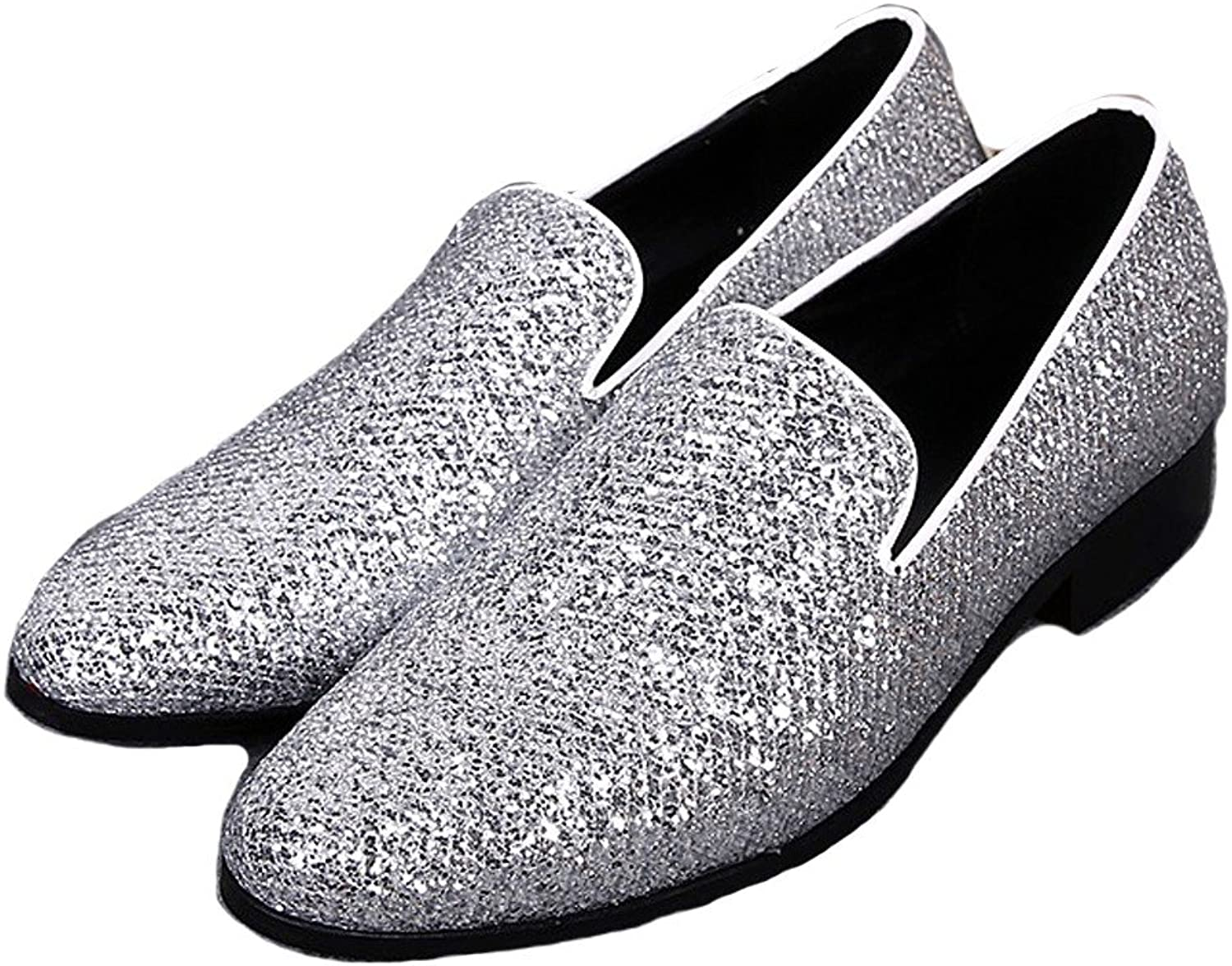 Cover Plus Size 5-12 Silver Genuine Leather Slip On Loafers Pointed Toe Mens Dress shoes