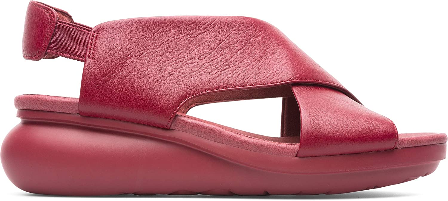 Camper Womens Balloon Sella Happiness Red Leather Credver Wedge Sandal Size