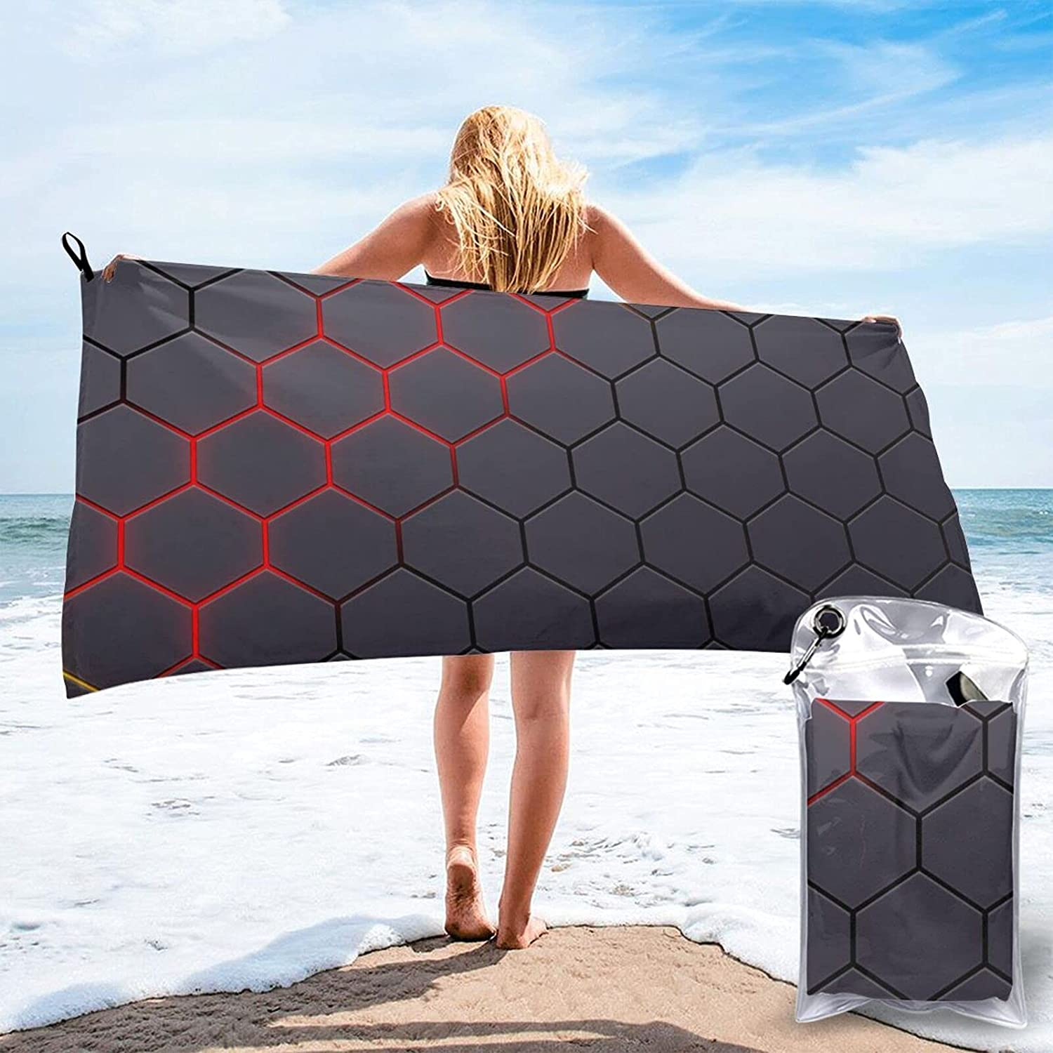 Honeycomb Hexagonal Finally resale start Texture Quick Dry Abso Free Towel Super outlet Sand