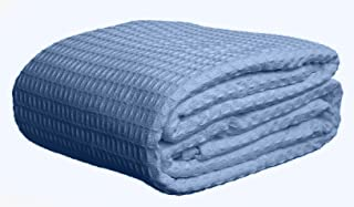 Deluxe 100% Soft Cotton Thermal Waffle Weave Blanket - Full Size - Blue