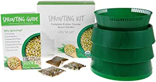 """Handy Pantry Complete Sprouting Kit   """"Sprout Garden"""" 3 Tray Sprouter, SG.52   BPA Free Stackable Sprouting System   Includes Printed Instructions & Organic Sprouting Seeds"""