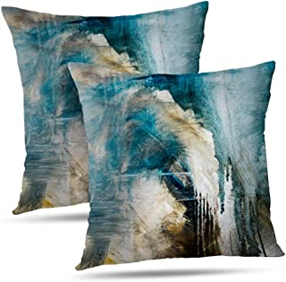 WAYATO Oil-Painting 18 x 18 Decorative Pillow Covers, Abstract Canvas Color Artwork Grunge Double-Sided Pattern Square Turquoise Pillow Covers Sofa Cushion Covers for Living Room