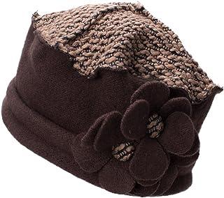 Flower Trimmed Womens Wool Beanie Cap Dress Crochet Hat A125 (Brown)