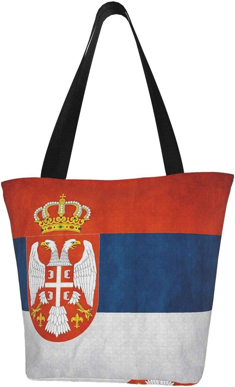 Novelty Serbia Flag Vintage Themed Printed Women Canvas Handbag Zipper Shoulder Bag Work Booksbag Tote Purse Leisure Hobo Bag For Shopping