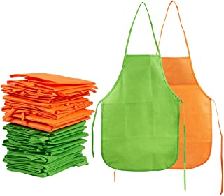 Juvale Artists Aprons for Kids, 24 Pack Childrens Smocks for Painting, Kitchen, Classroom, Art and Craft Event, Green, and Orange, 13 x 19 Inches