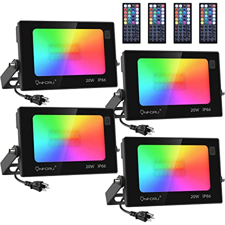 Onforu RGB Flood Light 160W Equivalent, DIY Color Changing LED Stage Lights with Remote, IP66 Outdooor Floodlight, Dimmable Strobe Uplighting indoor for Party, Wall Wash, Landscape, Garden, 4 Pcs