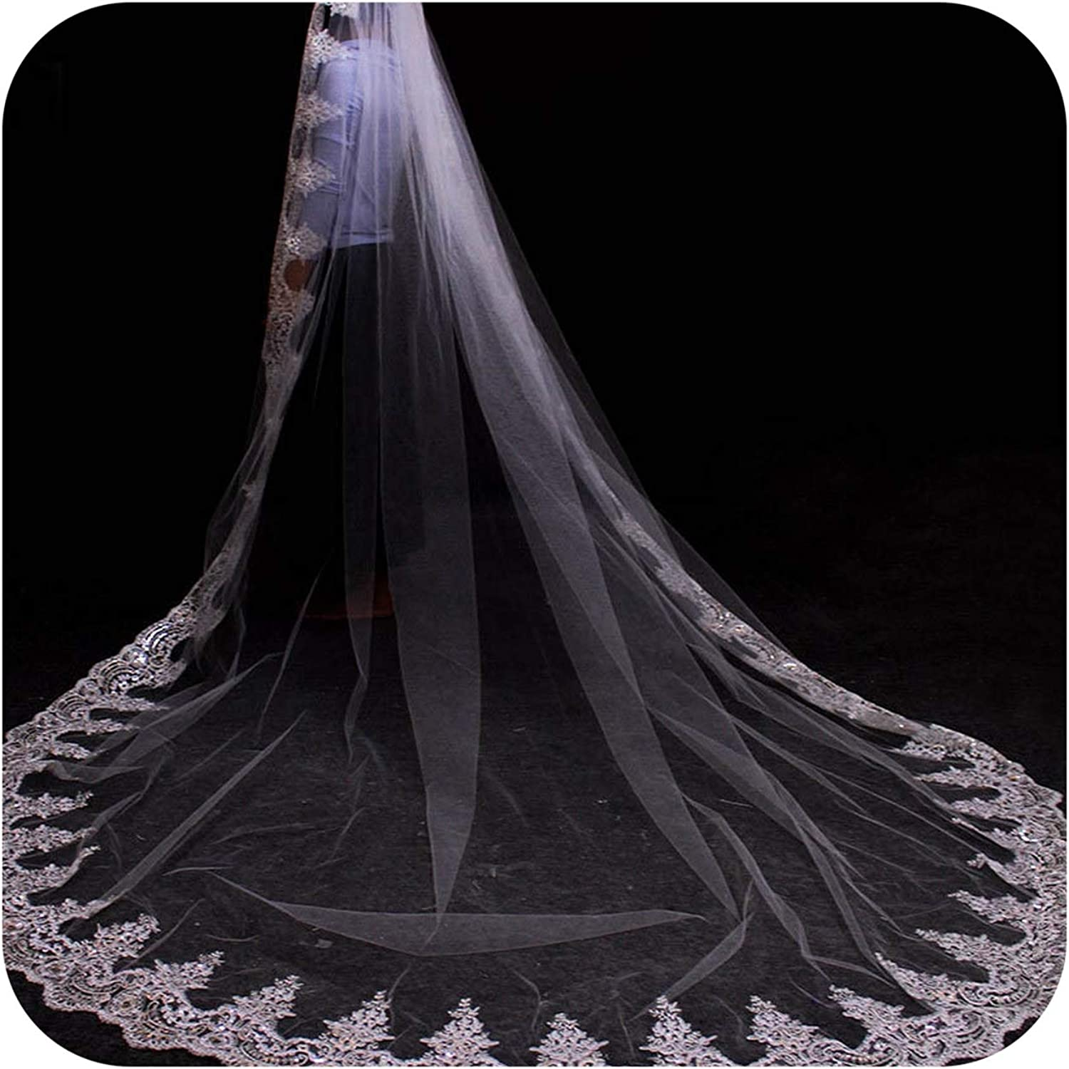 3 Meters White Ivory Cathedral Mantilla Wedding Veils Long Lace Edge Bridal Veil with Comb Wedding Accessories Bride,WHITE,200cm