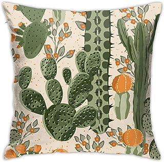 WOWUSUO Succulent Cactus Pillowcase Orange Flowers Decorative Throw Pillow Cases Cushion Cover Square Pillow Covers for Ca...