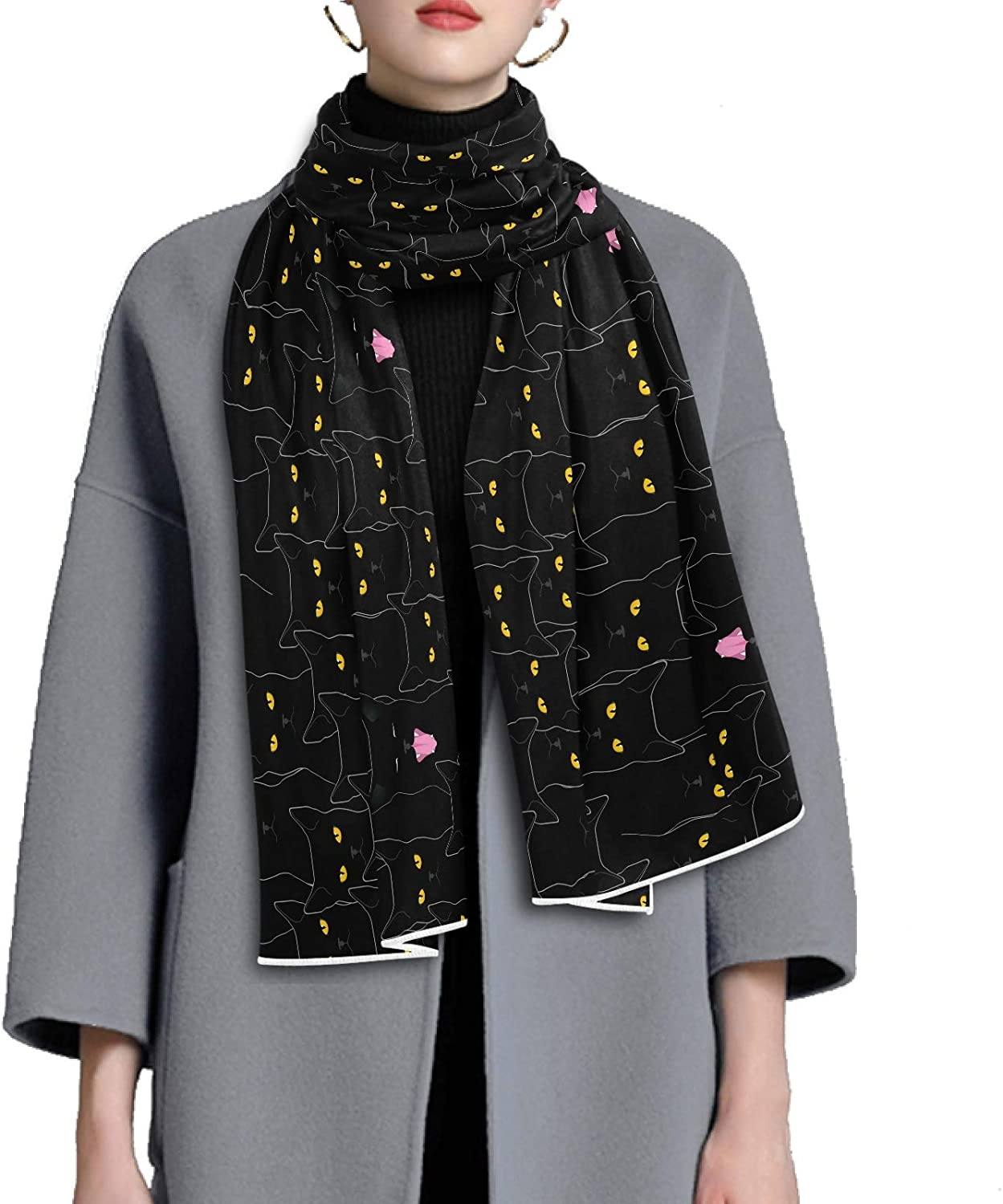 Scarf for Women and Men Cute Black Cats Blanket Shawl Scarves Wraps Thick Soft Winter Oversized Scarf Lightweight