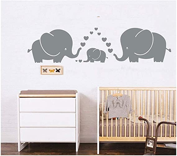 Baby Mum Elephants Love Heart Wall Sticker Removable Kids Home Decor Room Decals