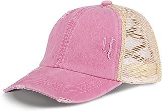 Sponsored Ad - LIVACASA Baseball Cap Women Washed Criss Cross Mesh High Ponytail