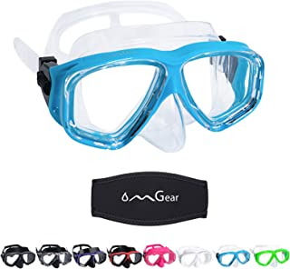 OMGear Diving Mask Snorkeling Gear Kids Adult Snorkel Mask Dive Goggles عینک شنا سیلیکون Scuba Free Diving Spearfishing ضد نشت ضد مه مهار پوشش نئوپرن مقاومت در برابر ضربه