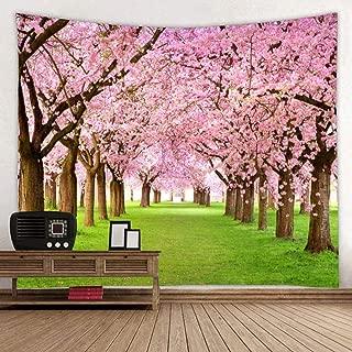 BROSHAN Flower Tree Decor Tapestry for Bedroom, Spring Asian Cherry Blossom Nature Scene Wall Tapestry Backdrop Fabric Garden Tapestry Wall Haning for Bedroom Living Room College Dorm, 60 x 80