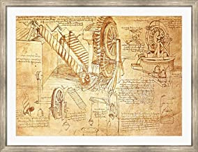 Facsimile of Codex Atlanticus Screws and Water Wheels by Leonardo Da Vinci Framed Art Print Wall Picture, Silver Scoop Frame, 51 x 39 inches