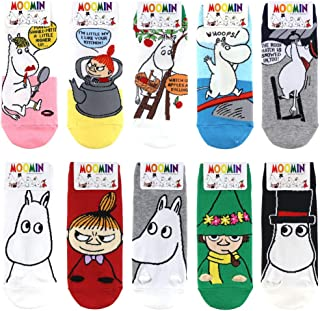 Moomin Character Fashion Socks for Women 10 Pairs Face Designed Fashion Wear