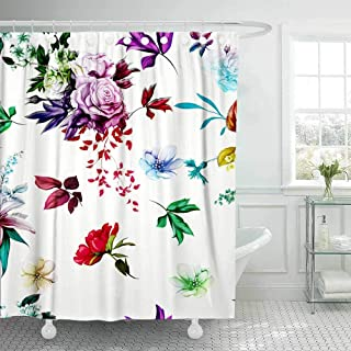Tooperue Christmas Shower Curtains, Shower Curtain for Bathroom with Hooks Floral Background Pattern Abstract Roses Lily The Valley Leaves White Watercolor 72×72 Inch,Eco-Friendly,No Oder,Waterproof