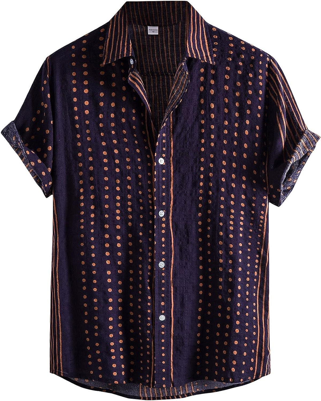 Mens Summer Casual Shirts,Stripe Print Turn Down Collar Button Down Short Sleeve Hawaiian Tops Thin Cool Beach Blouse