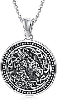 قلادة التنين السلتيك 925 الفضة الاسترليني الفايكينج التنين قلادة سلتيك عقدة مجوهرات هدايا للنساء الرجال