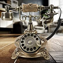 $86 » Bronze Retro Vintage Antique Style Rotary Dial Button Desk Telephone Phone Home Office Telephone Double Ringtones