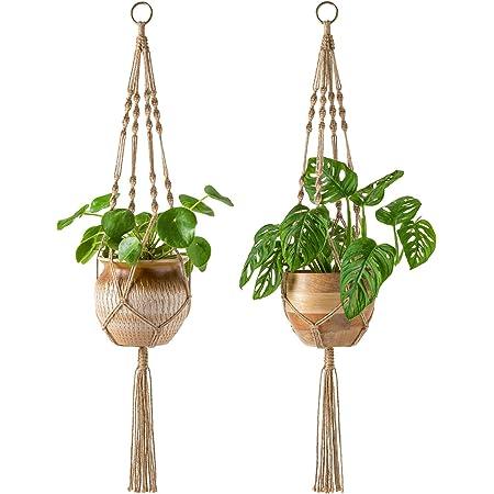 Indoor Outdoor Hanging Planter Basket Cotton Rope Decorative Flower Pot Holder Macrame Plant Hanger Indoor Hanging Planter Shelf Plant Hanger