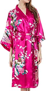 MISSFASHION Women's Lounge wear Satin Kimono Robe Peacock Pajamas for Women