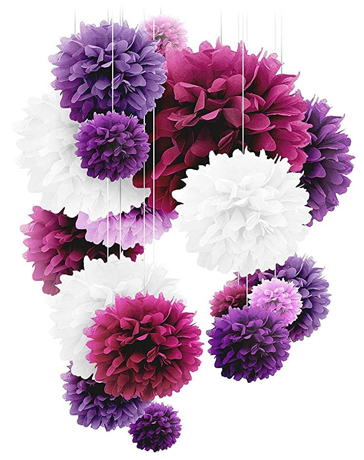 Paper Pom Poms - 20 PCS of 10, 12, 14 Inch - Paper Flowers Perfect for Wedding Decor, Birthday Celebration, Table and Wall Decoration, Purple Mix