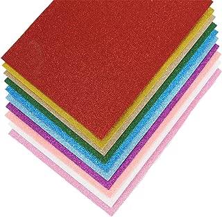 Glitter Felt Non Woven Fabric Sheets Felt Back for Craft DIY Assorted Colors (10 Colors 12 x 8 Inch)