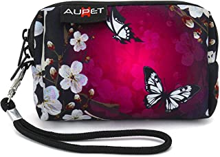 AUPET Digital Camera Case Bag Pouch Coin Purse with Strap for Sony Samsung Nikon Canon Kodak,Purple Butterfly Design
