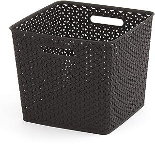 CURVER Panière de rangement 18L en Plastique avec un Design Rotin Tressé pour Salle de Bain, Chambre, Bureau - Poignées Er...