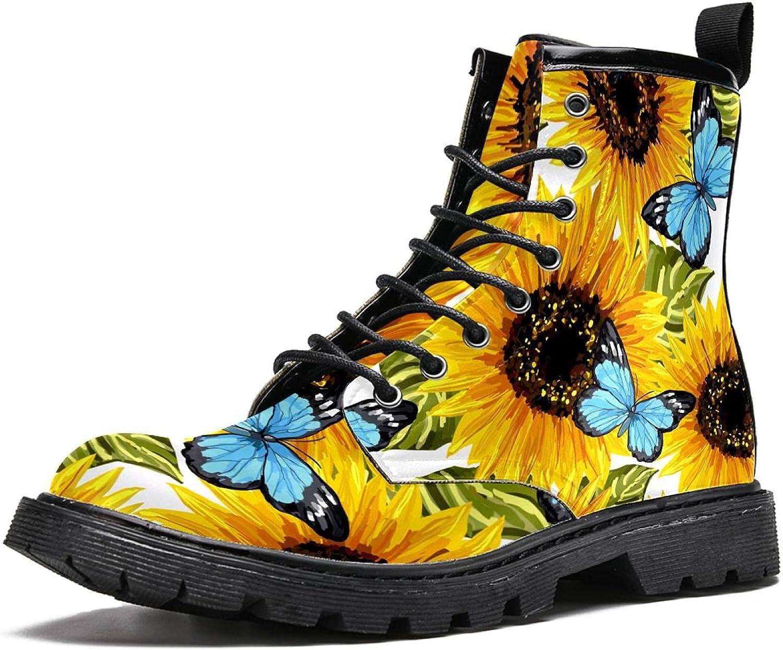 Sunflowers Blue Butterflies Men's Stylish High Top Boots Super Long Beach Mall popular specialty store Hiking