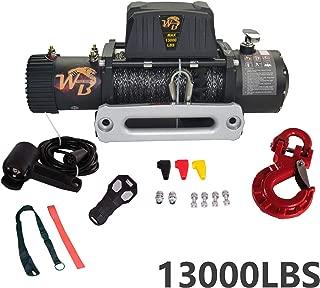 ZR Universal 13000LB 12V 265/1 Gear Ratio Nylon Rope Electric Recovery Winch Wireless Remote Control Al Block IP67 waterproof for Pickup Truck 4WD JEEP SUV Van Train Boat Trailer