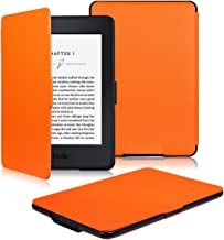 OMOTON Kindle Paperwhite Case Cover - The Thinnest Lightest PU Leather Smart Cover Kindle Paperwhite fits All Paperwhite Generations Prior to 2018 (Will not fit All Paperwhite 10th Gen), Orange