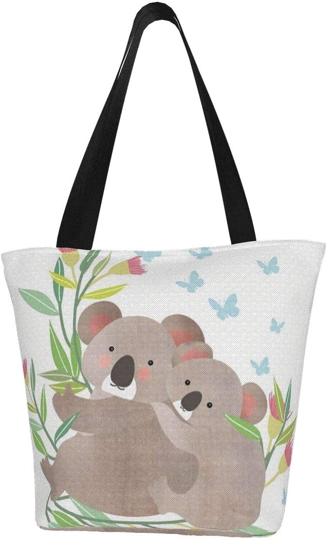 Butterfly Cartoon Koala Painting Themed Printed Women Canvas Handbag Zipper Shoulder Bag Work Booksbag Tote Purse Leisure Hobo Bag For Shopping