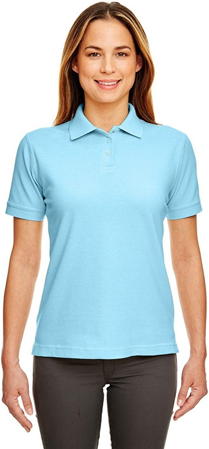 UltraClub 8530 Ladies Classic S-Sleeve Pique Polo Baby Blue Small