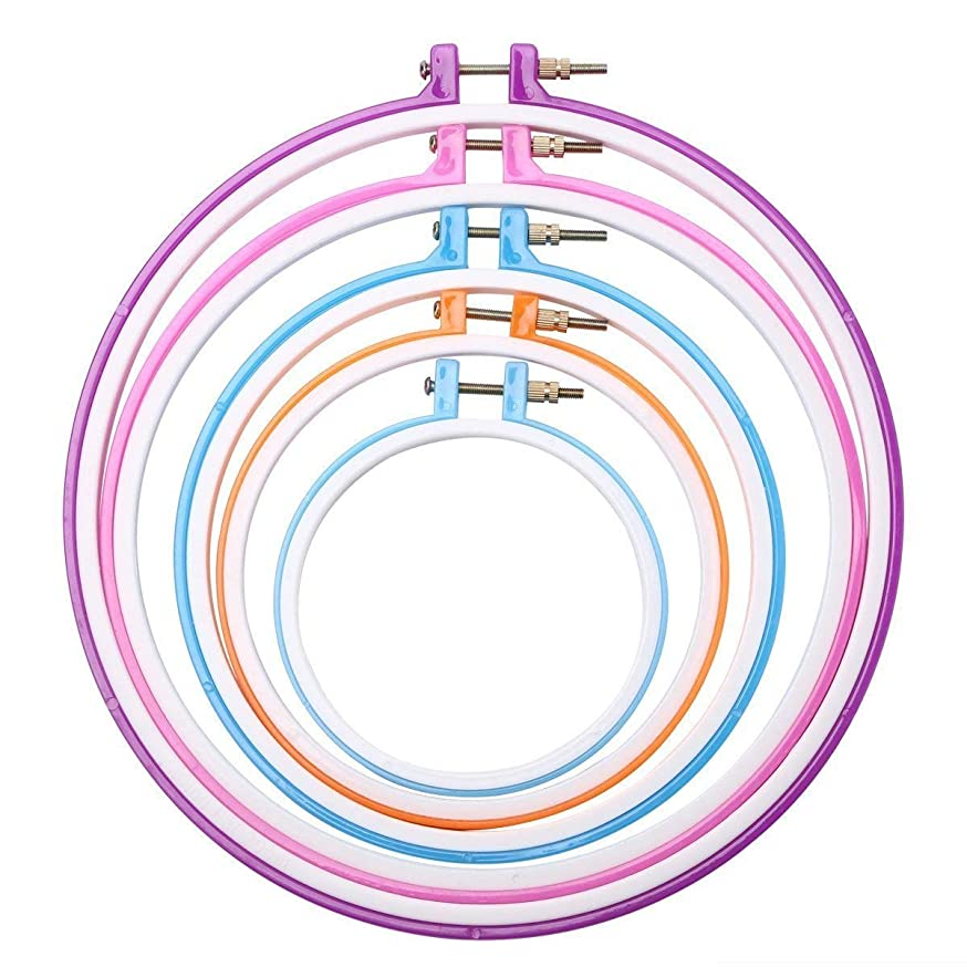 Hapy Shop 5 Pieces Embroidery Hoops Plastic Cross Stitch Hoop Round Embroidery Circle 5 inch to 11 inch