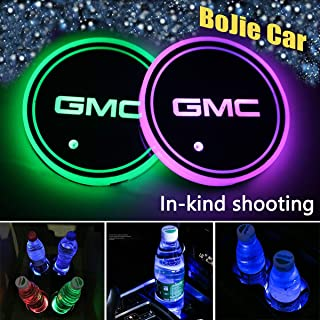 2pcs LED Car Logo Cup Holder Lights for GMC, 7 Colors Changing USB Charging Mat Luminescent Cup Pad, LED Interior Atmosphere Lamp Decoration Light. (GMC)