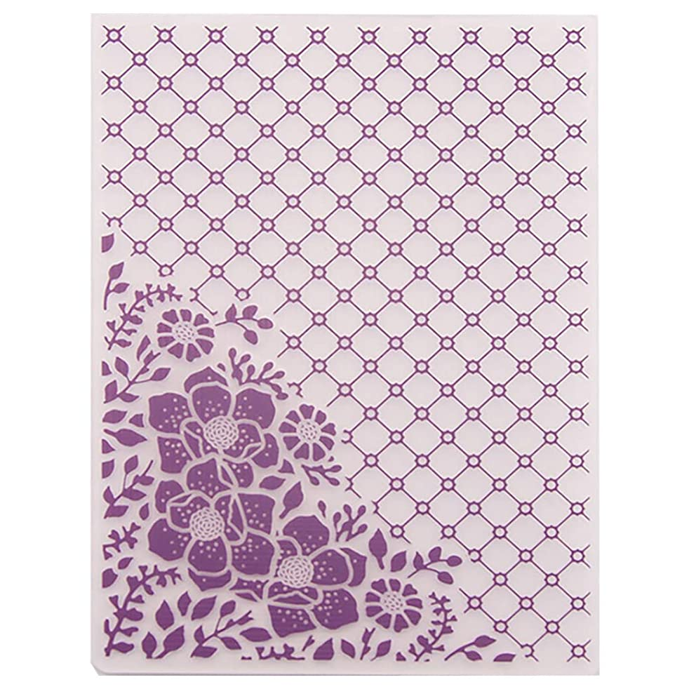 Kwan Crafts Flowers Corner Grid Plastic Embossing Folders for Card Making Scrapbooking and Other Paper Crafts,12.5x17.7cm