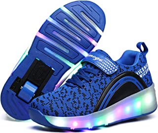 UBELLA Boys Girls Kids LED Light up Single Wheel/Double Wheels Roller Skate Sneakers Shoes