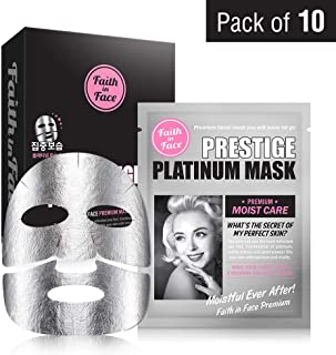 Faith in Face Prestige Platinum Silver Premium Moist Care Foil Face Sheet Mask, Skin Intensive Treatment Hydration Brightening Skin Elasticity Firming Radiance K Beauty Skincare, 10 Pack Count