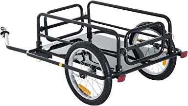 Aosom Foldable Bike Cargo Trailer Bicycle Cart Wagon Trailer w/Hitch, 16'' Wheels, 110 lbs Max Load - Black