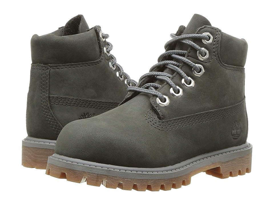 Timberland Kids 6 Premium Waterproof Boot (Toddler/Little Kid) (Dark Grey Nubuck) Kids Shoes