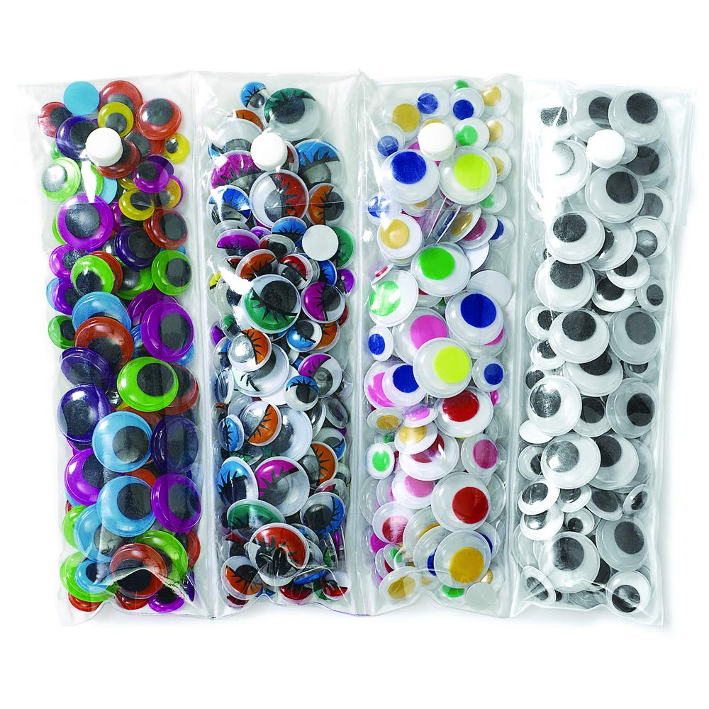 Amazon Com Colorations Assorted Wiggly Googly Eyes 500 Pieces Assorted Shapes Sizes Multi Color Value Pack With Storage Arts Crafts Quality For Kids Model Number 500eyes Industrial Scientific