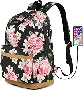 Canvas Backpack Bookbags with USB Charging Port Fit for 14