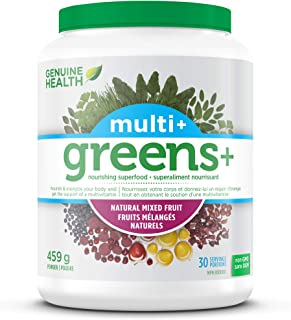 Genuine Health Greens+ Multi+ Green, Superfood Powder with Multivitamins & Minerals, Non GMO, Natural Mixed Fruit, 459g, 30 Servings