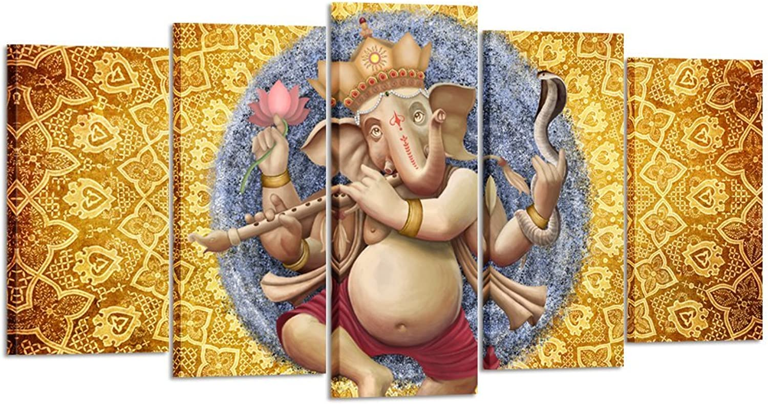 Kreative Arts Beautiful Ganesh Indian Devotional Wall Painting 5 Pieces Canvas Print Wall Hanging Stretched and Framed on Wood Home Decor for Living Room Office Decoration (Large Size 60x32inch)