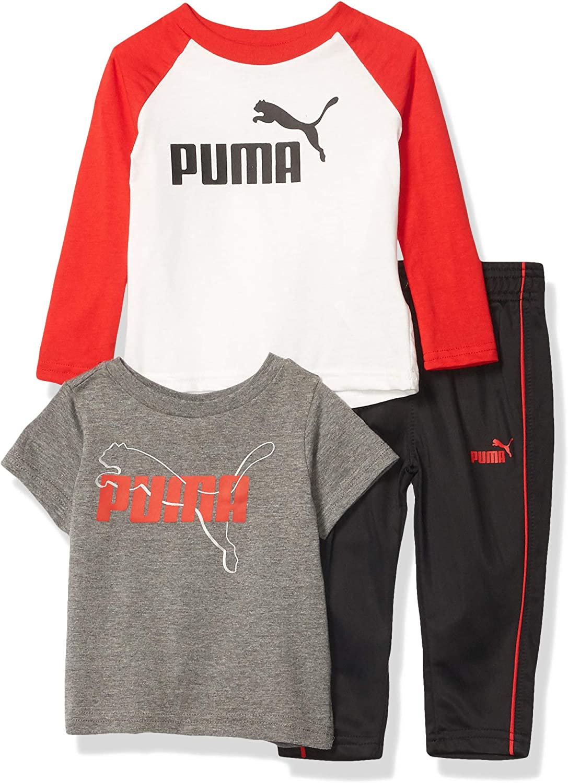 PUMA Boys' 3 Piece Graphic T-Shirt|,| Longsleeve T-Shirt & Pant Set