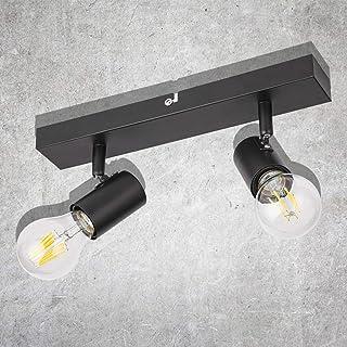 Kambo Plafond Vintage Rétro Noir Douilles E27 Plafonnier Industriel 2 Spot de Plafond Orientables Max. 60 Watt Métal Ampou...